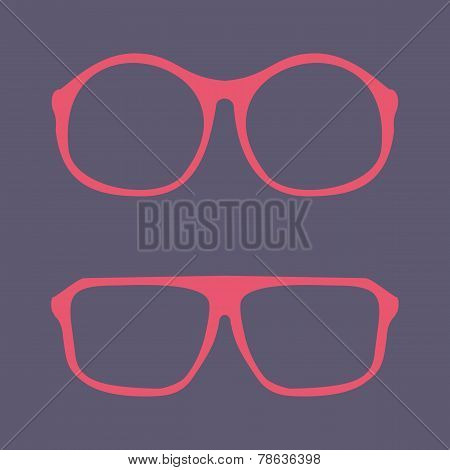 Pink nerd glasses - retro hipster vector illustration