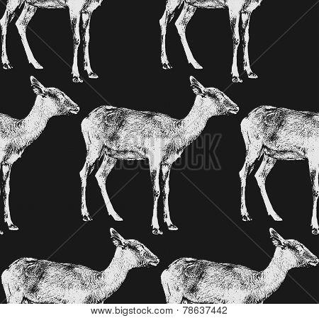 vector  illustration of a goat or antelope. seamless animal patt