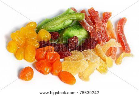 dried fruits (strawberry, mango, tangerine, lemon, etc) on a white background