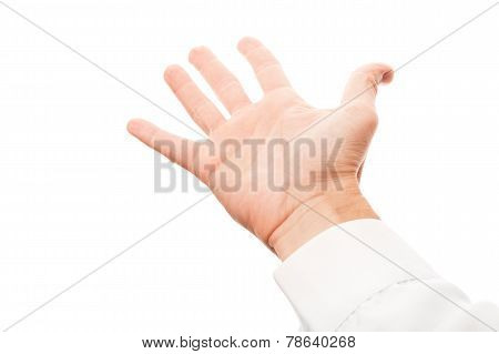 Right Man Hand With Empty Place, Isolated On White
