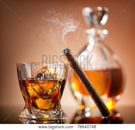 Cigar on glass