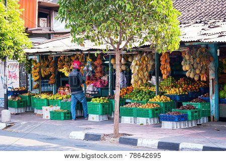 Fruit Store Next To The Road In Yogyakarta, Indonesia