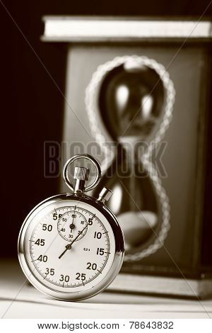 Stopwatch And Sand Watch In Sepia