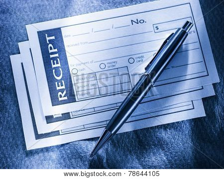 Blank Receipt And Pen