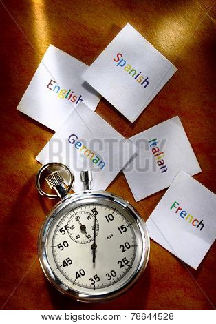 Cards With Different Languages And Stopwatch