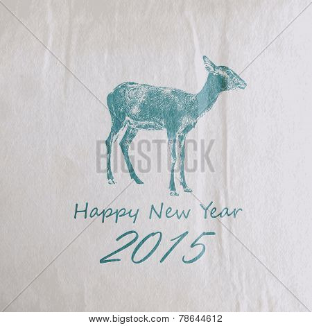Vector holiday illustration of a goat on the old vintage wrinkle