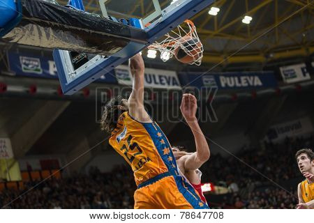 VALENCIA, SPAIN - DECEMBER 5: 25 Loncar during Euroleague match between Valencia Basket Club and Crvena Zvezda Telekom Belgrade at Fonteta Stadium on Dicember 5, 2014 in Valencia, Spain