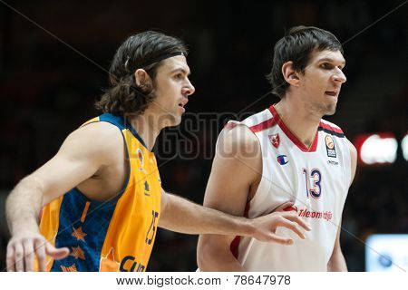 VALENCIA, SPAIN - DECEMBER 5: Loncar L Marjanovic R during Euroleague match between Valencia Basket Club and Crvena Zvezda Telekom Belgrade at Fonteta Stadium on Dicember 5, 2014 in Valencia, Spain