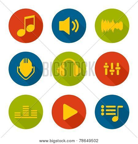 Set of vector icons music for app.