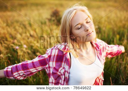 Happy Beautiful Woman With Closed Eyes