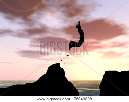 Concept or conceptual young man or businessman silhouette jump happy from cliff over water gap sunset or sunrise sky background