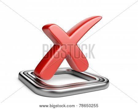 Check Box With Red Cros Check Mark