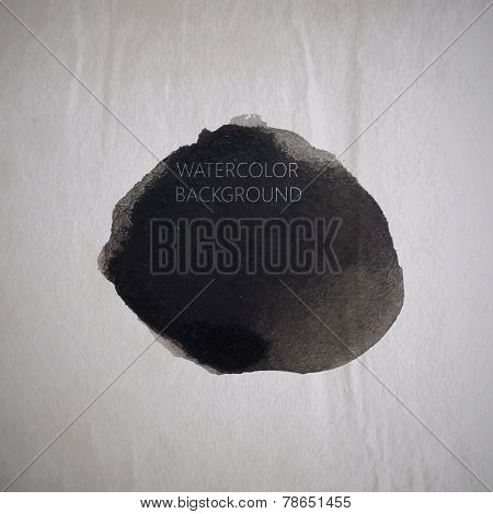 vector illustration of black watercolor stain or blotch on the o