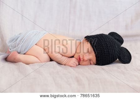 Cute Newborn Baby In Black Mouse Hat