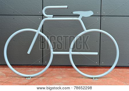 Bicycle-Shaped Bicycle Rack
