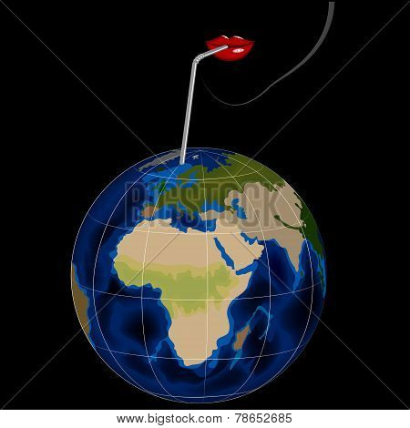 Illustration of woman's lips drinking globe by straw