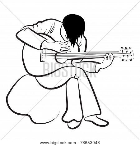Guitarist playing the guitar. Stylized, contours, vector.