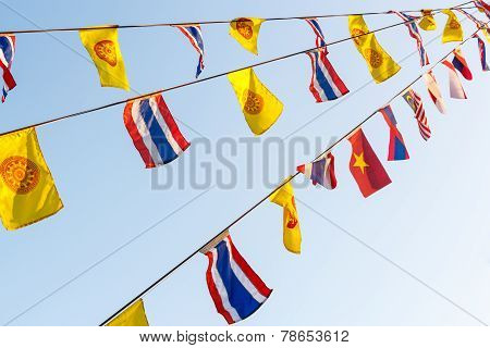National Flags And Wheel Of Dhamma 's Flags