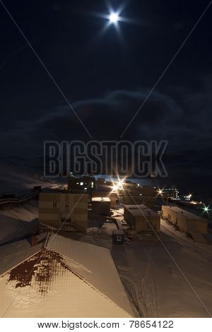 View Of The Russian Mining Settlement On Spitsbergen In The Far Pó?nocyw During The Polar Night, Nig