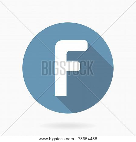 White letter F Vector Icon With Flat Design