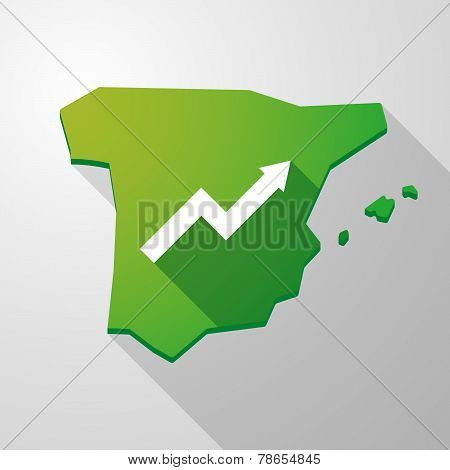 Spain Map Icon With A Graph