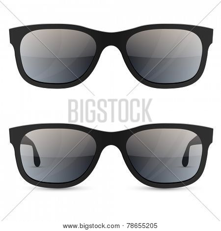 Classic sunglasses vector template isolated on white background.