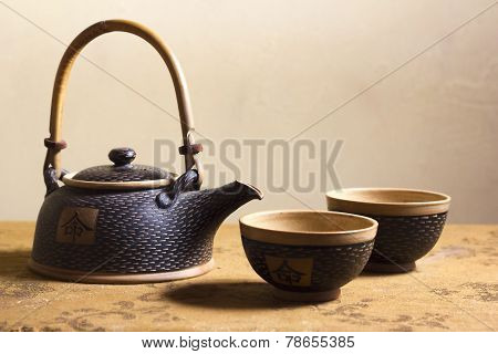 Elegant Japanese Clay Tea Service