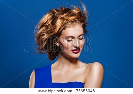 Woman hairstyle fashion portrait.