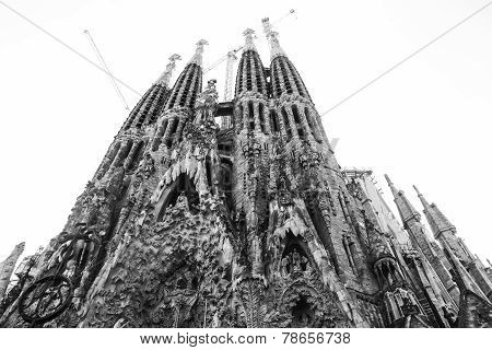 BARCELONA, SPAIN - september 15, 2014. La Sagrada Familia - the impressive cathedral designed by Gau