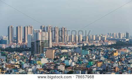 Ho Chi Minh cityscape sky view nowadays