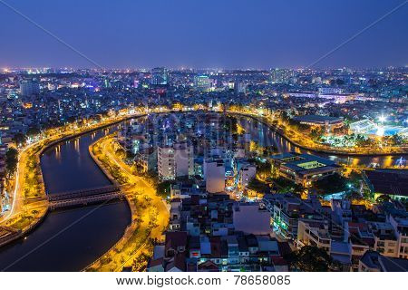 Nhieu Loc canal at night view at Ho Chi Minh City ( Saigon ), a branch of Saigon river, Vietnam. The