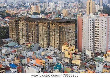 old building in Ho Chi Minh cityscape view