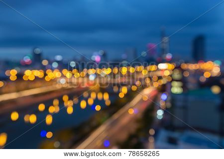 Abstract Festive Background With Bokeh Defocused Lights Of Downtown Of  Ho Chi Minh City ( Sai Gon )