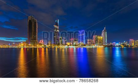 night view of Saigon river at downtown ( center ) of ho chi minh city Vietnam.