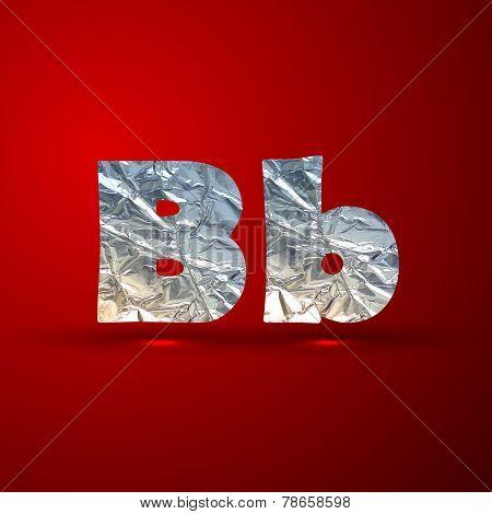 vector set of aluminum or silver foil letters. Letter B
