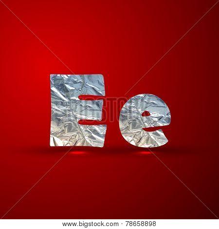 vector set of aluminum or silver foil letters. Letter E