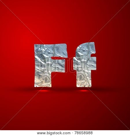 vector set of aluminum or silver foil letters. Letter F