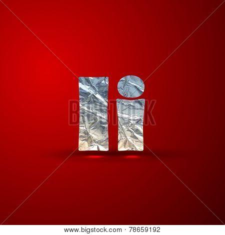 vector set of aluminum or silver foil letters. Letter I