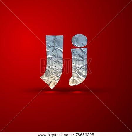 vector set of aluminum or silver foil letters. Letter J