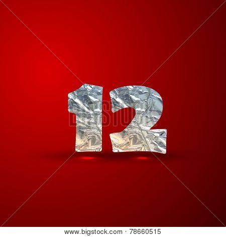 vector set of aluminum or silver foil numbers 1,2