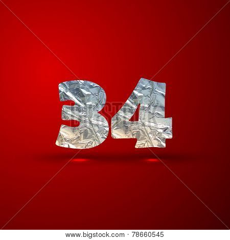 vector set of aluminum or silver foil numbers 3, 4