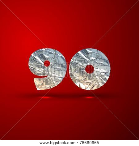 vector set of aluminum or silver foil numbers 9, 0
