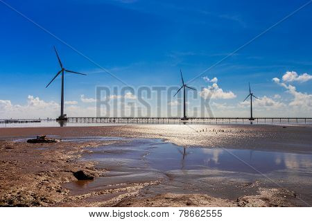 Bac Lieu Province Of Vietnam Wind Power Plant. It Is The First Wind Farm In Vietnam's Mekong Delta