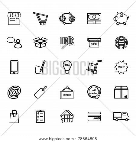 Internet Entrepreneur Line Icons On White Background