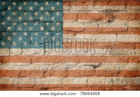 USA flag painted on brick wall