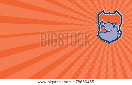 Business Card Razorback Head Looking Up Shield Retro