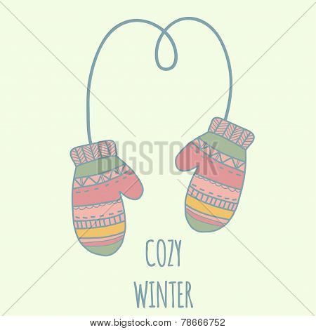 Winter clothe mittens. Pastel color illustration, cozy winter