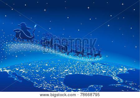 Illustration of Santa Claus and reindeer flying through starry blue sky over planet earth; Christmas scene. EPS10 with transparent elements