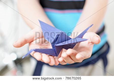 Origami Crane In Children's Hands