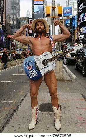 Famous Naked Cowboy posing at the Times Square in Manhattan